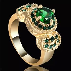 Emerald CZ 18KT Yellow Gold Filled Ring Size 7
